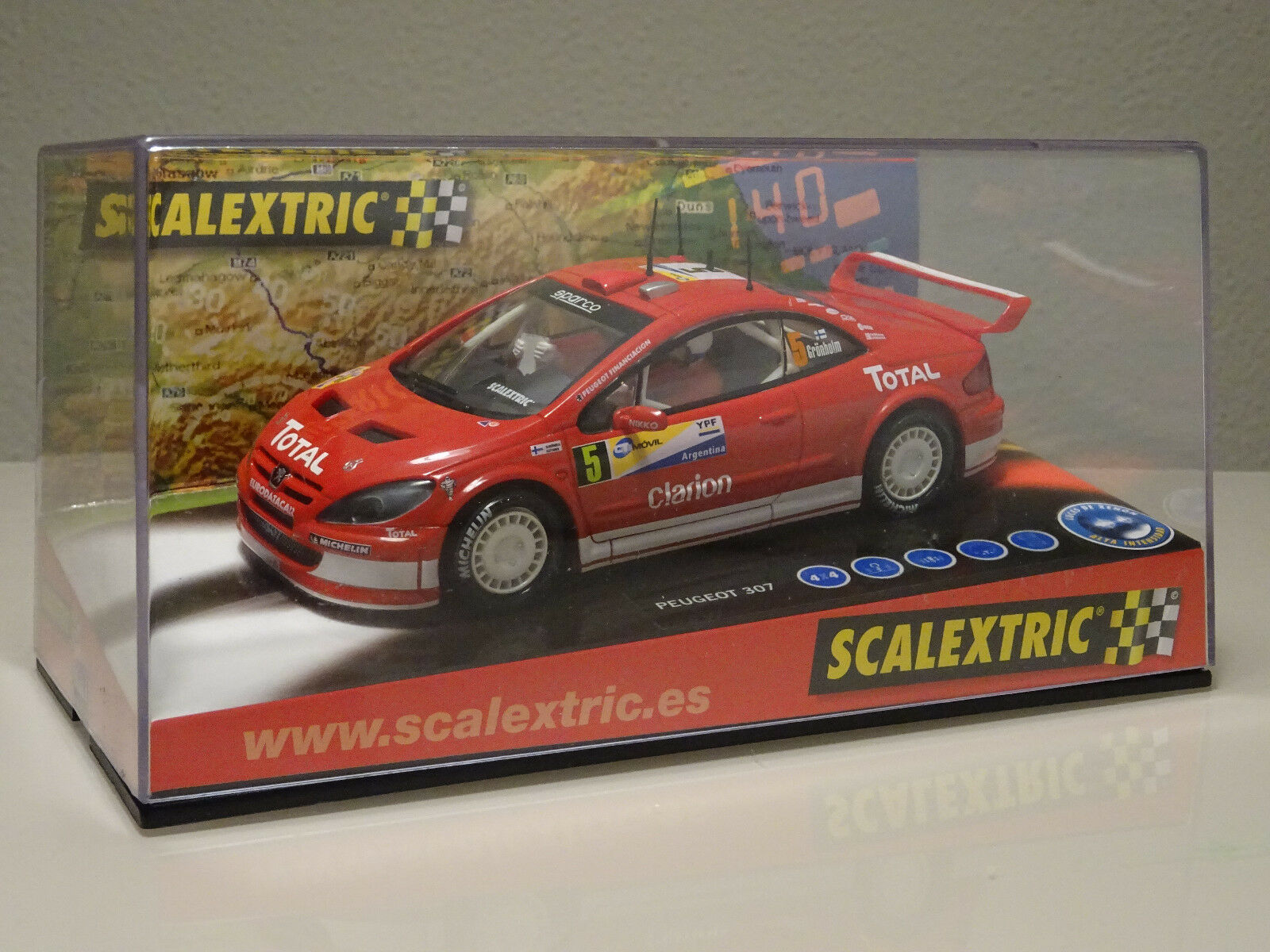 NUEVO A ESTRENAR COCHE SCALEXTRIC PEUGEOT 307 GRONHOLM SLOT FLY TEAMSLOT RALLY