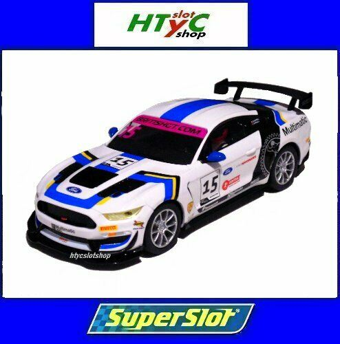 SUPERSLOT FORD MUSTANG GT4 #15 BRITISH GT 2019 MULTIMATIC SCALEXTRIC UK H4173